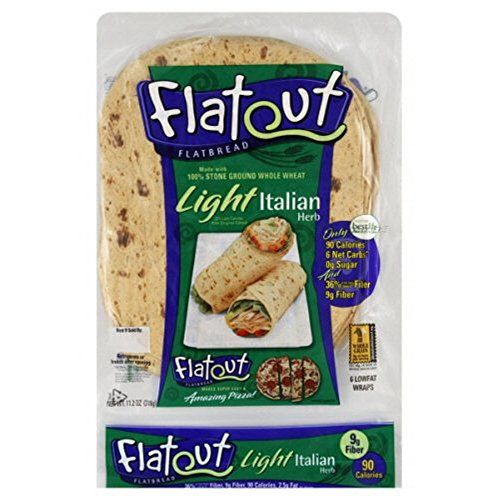 Flatout Light Flatbread Low Fat, Low Carb Wraps (Italian Herb) by Flatout