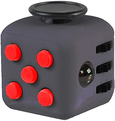 Amazon.co.jp: fidget cube ストレス解消グッズ キューブ スイッチ ボタン ハンドル プチプチ 歯車 おもちゃ PVC 大人 子ども 6つのストレス解消機能 (六面 fidget cube, ブラック+レッド): おもちゃ