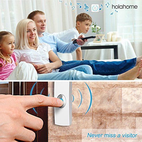 Holahome Wireless Doorbell - Waterproof Portable Door Bell Chime Kit Push Button with 2 Portable Receivers 32 Melodies Wireless Door Alarm Chime Long Range Battery Operated for Home Office White by holahome (Image #1)