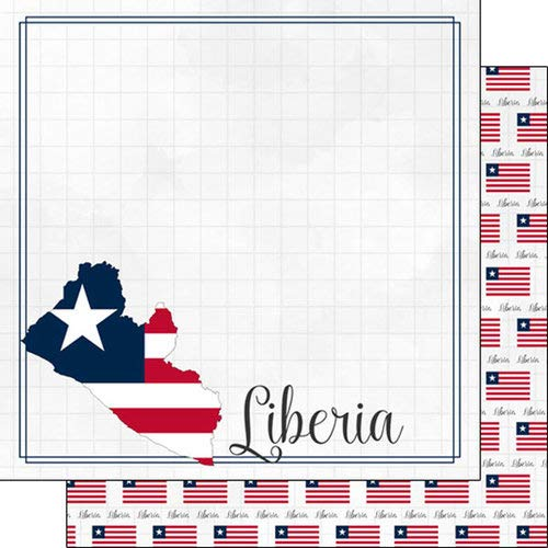 Scrapbook Customs 38972 Liberia Adventure Border 12 Inch x 12 Inch Double-Sided Scrapbook Paper - 1 Sheet ()