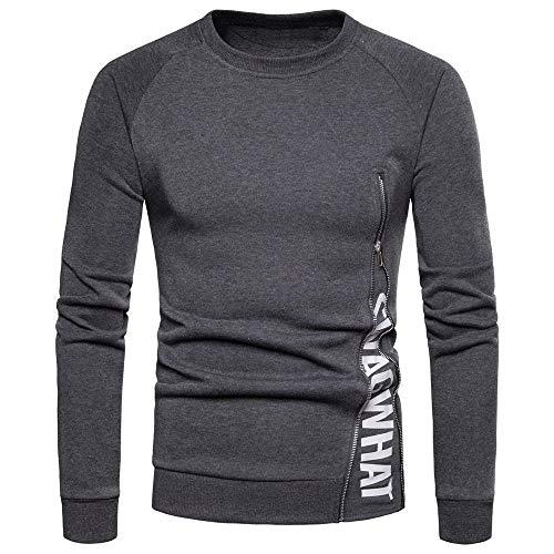 QBQCBB Men's Long Sleeve Shirts Letter Zipper Fit Shirt Tops Blouse Letter Logo T-Shirt(Dark ()