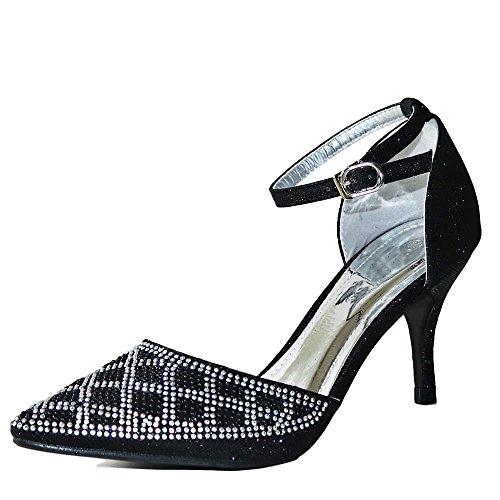 Baile en brillante Negro Tobillo Fiesta Negro Plata mujer Media en Zapato Salón Tacón de 24 Rock De Estilos Número 26 Nuevo Pedrería Tira BAJA XqxdwnFOP