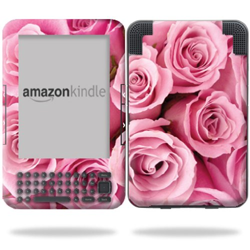 MightySkins Protective Vinyl Skin Decal Cover for Amazon Kindle 3 (Fits Kindle Keyboard) 6'' display ebook reader wrap sticker skins - Pink Roses by MightySkins