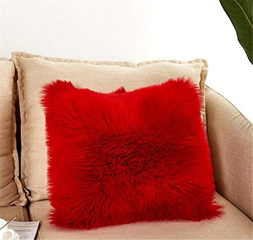 Luxury Long Faux Fur Throw Pillow Case Super Soft Plush Cushion Cover Deluxe Home Sofa Bed Car Party Decorative 18 x 18 Inch Red