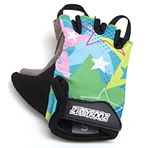 ZippyRooz Toddler & Little Kids Bike Gloves for Balance and Pedal Bicycles (Formerly WeeRiderz) For Ages 1-8 Years Old. 6 Designs for Boys & Girls (ZR Stars, Little Kids Small (1-2))