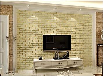 Xzzj Vliestuch Weißen Stein   Schlafzimmer Wohnzimmer TV Tapete Grüne Wand  Tapeten, Gold Ziegelstein Schaum