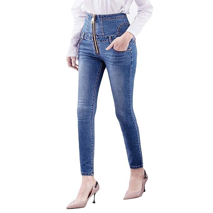 BMEIG Vaqueros Pitillo Mujer Skinny Jeans Señoras de Talle ...