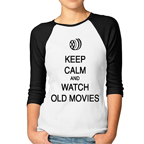 (FOODE Women's Keep Calm And Watch Old Movies 3/4 Sleeve 100% Cotton Baseball Tee/T Shirts Black)