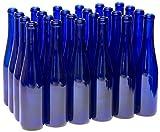 North Mountain Supply 375ml Glass Stretch Hock Wine Bottle Flat-Bottomed Cork Finish - Case of 12 (Cobalt Blue)