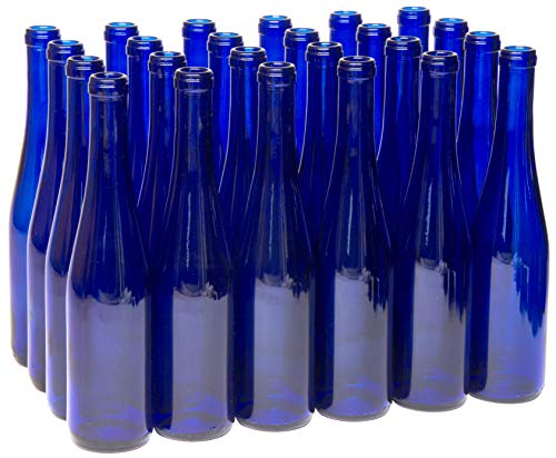 North Mountain Supply 375ml Cobalt Blue Glass Stretch Hock Wine Bottle Flat-Bottomed Cork Finish - Case of 24 ()