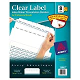 Wholesale CASE of 3 - Avery Prepunched Index Maker Dividers w/ Tabs-Index Maker, Laser, Punched, 8-Tabs, 25 ST/BX, White