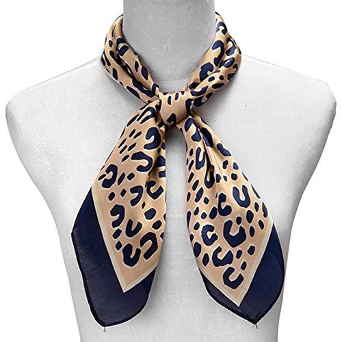 Aylliss Women Leopard Silk Feeling Square Scarf Fashion Neckerchief Satin Headscarf (27.5''  27.5'', 2)