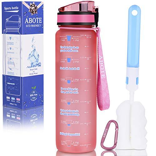 ABOTE 32oz Tritan Water Bottle with Time Marker, BPA Free Motivational Water Bottle 1 Littre - Pink