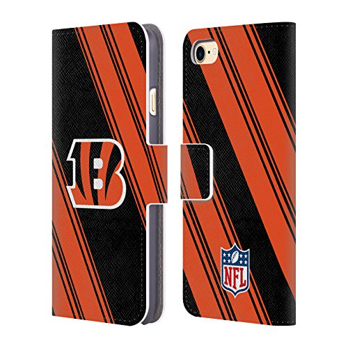 Official NFL Stripes 2017/18 Cincinnati Bengals Leather Book Wallet Case Cover for Apple iPhone 7 / iPhone 8 - Cincinnati Bengals Book Cover