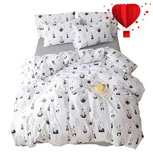 Hemau Cactus Twin White 100 Cotton,Lightweight Reversible Super Soft 3 Pieces Kids Teen Bedding Sets Twin White with Zipper Closure, for Boy,Girl,Men,Women,No Comforter | Style 503195380 ()