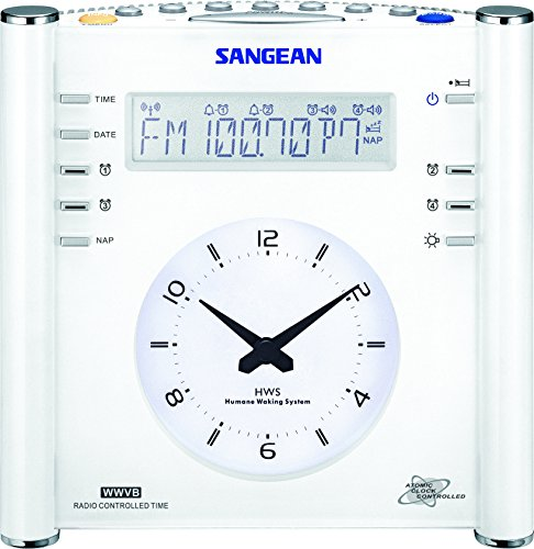 Sangean RCR-3 AM/FM Atomic Digital/Analog Clock Radio (White)