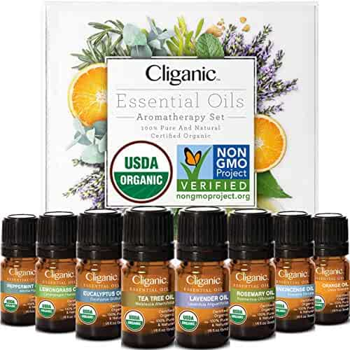 Cliganic USDA Organic Aromatherapy Essential Oils Set (8 Pack), 100% Pure Natural - Peppermint, Lavender, Eucalyptus, Tea Tree, Lemongrass, Rosemary, Frankincense & Orange | Cliganic 90 Days Warranty