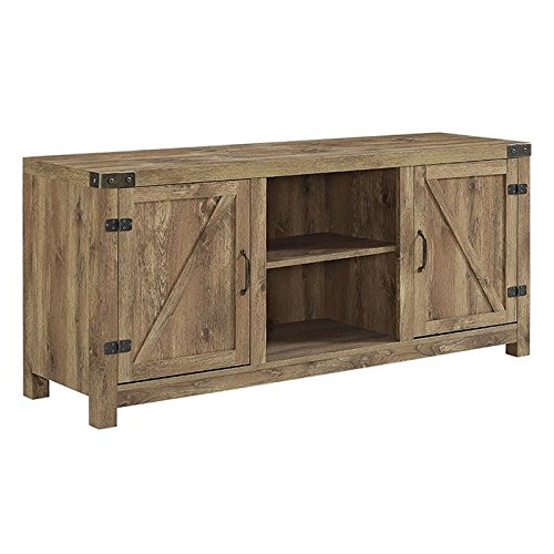 WE Furniture Barn Door TV Stand, One Size, Barnwood
