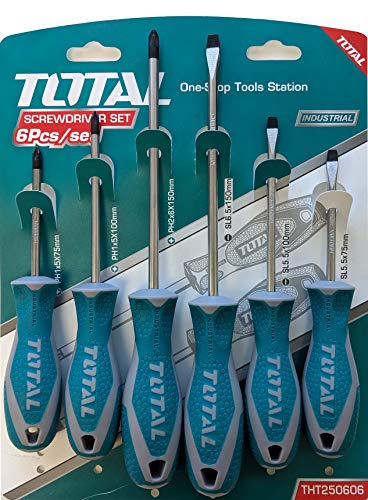 Total Tools 6-piece Magnetic Screwdriver Set Commercial Grade Phillips & Slotted Comfort Grip Screw Drivers