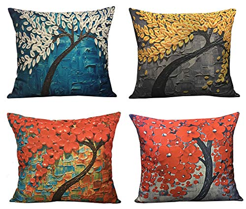 Geepro 18x18 inches Oil Painting Linen Pillow Case Covers Square Decorative Cushion Covers Set of 4 (Red) (View Amazon Detail ()