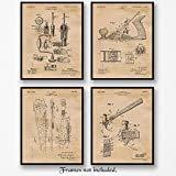 Original Wood Working Tools Patent Art Poster Prints- Set of 4 (Four 8x10) Unframed Pictures- Great Wall Art Decor Gift for Home, Office, Garage, Man Cave, Shop, Carpenter, Student, Teacher