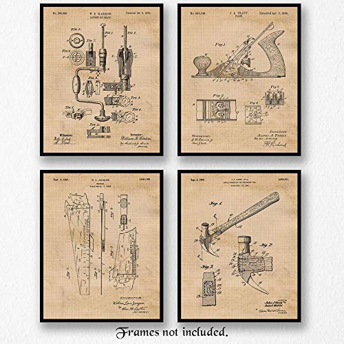 Original Wood Working Tools Patent Art Poster Prints- Set of 4 (Four 8x10) Unframed Pictures- Great Wall Art Decor Gift for Home, Office, Garage, Man Cave, Shop, Carpenter, Student, Teacher from Stars Arts