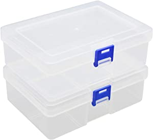 CHILDHOOD 2 Pack of Clear Plastic Clip Box, Crayon box Storage Organizer Container Box, Small Modular Supply Case for Crayons, Crafts & Office supplies, 6.5 x 4.5 Inches