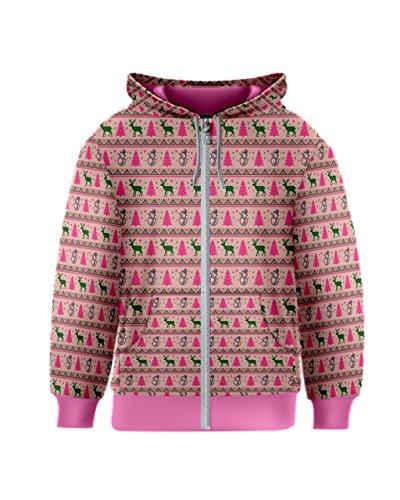 PattyCandy Pink Reindeers & Xmas Trees Kids Zipper Hoodies - (Child Christmas Tree Hooded Sweatshirt)