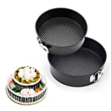 GANJOY 7 Inches & 9 Inches Cake Pan Set Leakproof Springform Pan with Quick Release Latch and Removable Bottom - Round ( Set of 2 )