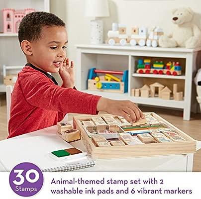 Amazon Com Melissa Doug Deluxe Wooden Stamp Set Animal