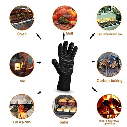 HnjPama BBQ Mitts(1 Pair) up to 500℃ (932F)- EN407 certified, cooking gloves/oven gloves/baking gloves, silicone aramid fibers, mitts for barbecue, kitchen, oven,microwave oven by HnjPama (Image #5)