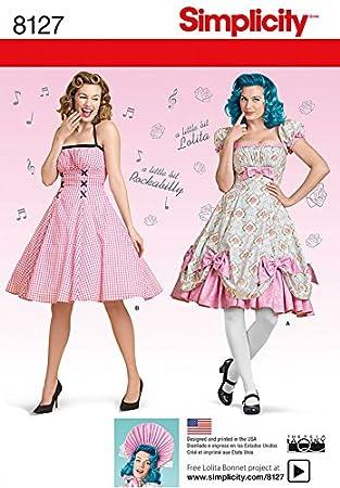 Simplicity Damen Schnittmuster 8127 Lolita & Rockabilly Kleider ...