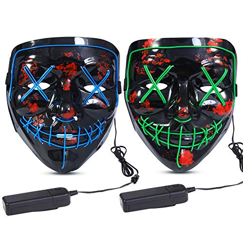 Halloween Scary Mask LED Mask LED Purge Mask [2PACK] LED Light Up Mask EL Wire Light Up for Festival Cosplay Halloween Costume Halloween Festival Party. Green Blue