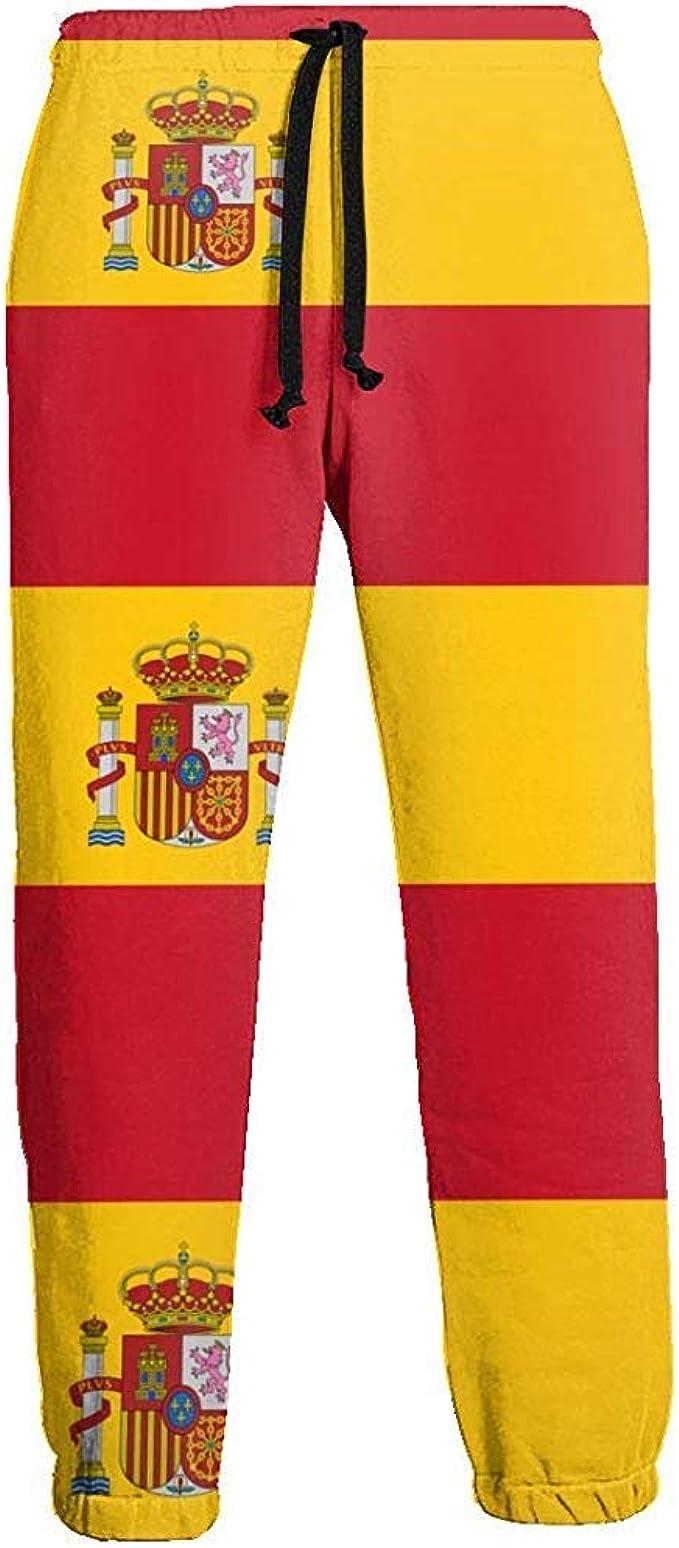 Pantalones de Deporte al Aire Libre de Entrenamiento con pantalón Largo para Hombre, Bandera de España: Amazon.es: Ropa y accesorios