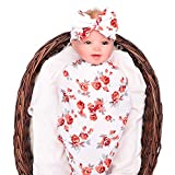 Newborn baby sleep swaddle blanket and bow headband set galabloomer (red)