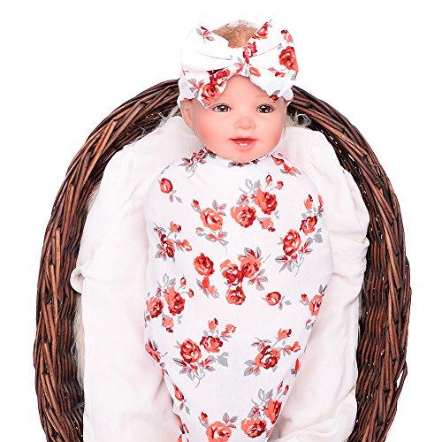 Galabloomer Newborn Baby Sleep Swaddle Blanket and Bow Headband Set (red)