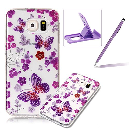 Glitter Clear Case for Samsung Galaxy S6,Crystal TPU Cover for Samsung Galaxy S6,Herzzer Ultra Slim Creative [Purple Butterfly Pattern] Bling Sparkly IMD Design Shock-Absorbing Soft Silicone Gel Bumper Cover Flexible TPU Transparent Skin Protective Case for Samsung Galaxy S6 + 1 x Free Purple Cellphone Kickstand + 1 x Free Purple Stylus Pen