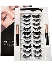 FEITA Upgraded Magnetic Eyelashes Kit with Eyeliner - 10 Pairs Magnetic False Lashes Natural Look with Applicator, 2 Tubes Magnetic Eyeliner - Easy to Apply & No Glue Needed