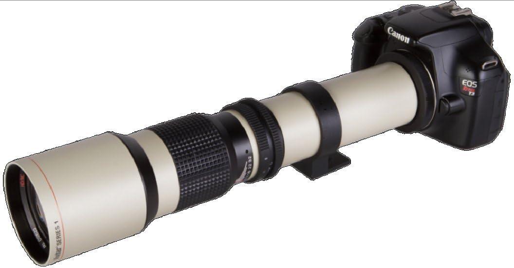 D5100 D800 D7100 D5500 D600 D500 D3300 D610 D700 D3200 D810 D5200 D3400 D5600 D750 D7000 D5300 D3100 D7200 High-Power 500mm//1000mm f//8 Manual Telephoto Lens for Nikon D7500 White