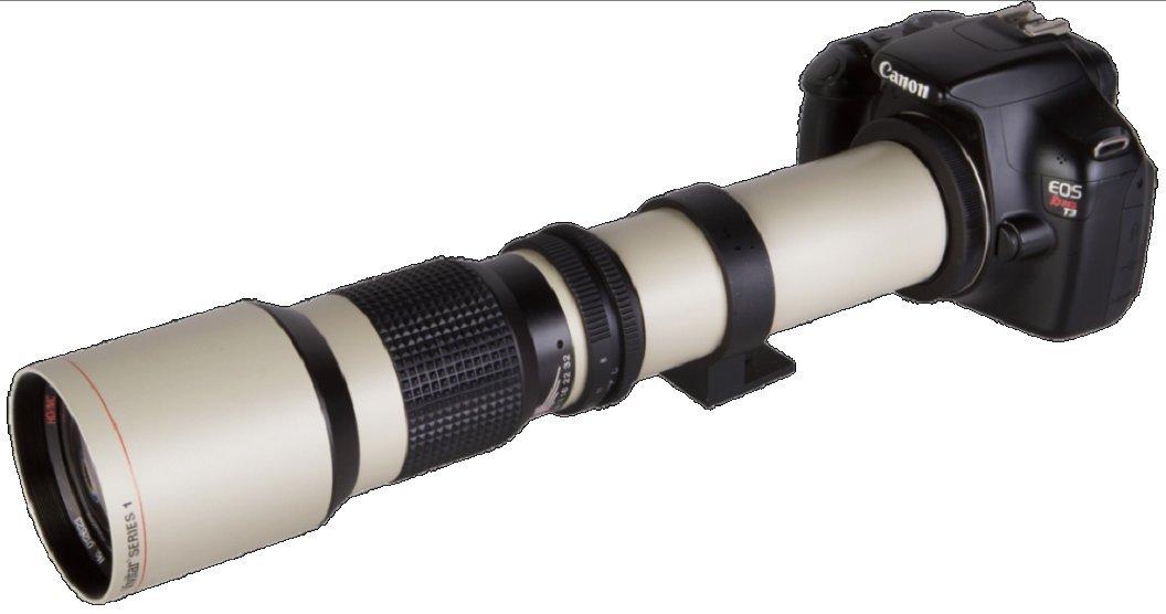High-Power 500mm/1000mm f/8 Manual Telephoto Lens for Canon Digital EOS Rebel T1i, T2i, T3, T3i, T4i, T5, T5i, T6i, T6s, SL1, EOS60D, EOS70D, 50D, 40D, 30D, EOS 5D, EOS1D, EOS5D III, EOS 5Ds, EOS 6D, EOS 7D, EOS 7D Mark II Digital SLR Cameras- WHITE