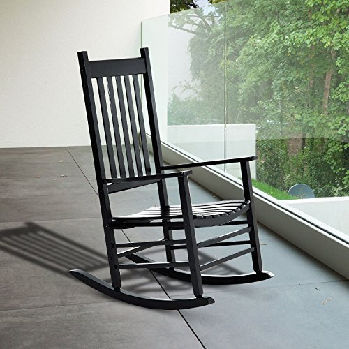 NEW Black color, Wooden Rocking Chair Porch Rocker Balcony Deck Outdoor Garden Seat Living Room
