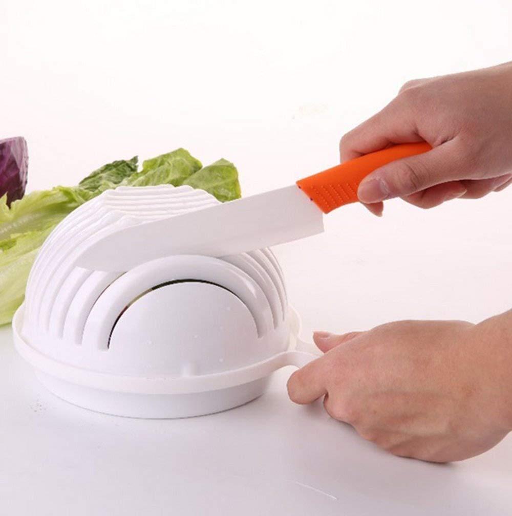 Salad Cutter Bowl, Meideli Salad Chopper, Vegetable Cutter Bowl - Make Your Salad in 60 Seconds(White)