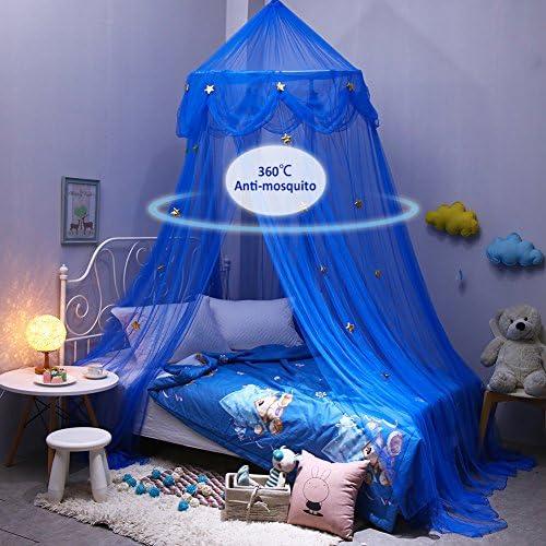업그레이드 아 블루 드림 스타 모기 그물 귀여운 캐노피 커튼 천장 유럽 모기장 공주 내기 블루이 별 님 대한민국 식 / Upgrade Kids Blue Dream Star Mosquito Net Cute Canopy Curtain Ceiling European Mosquito Net Princess Bet Blue Star-like...