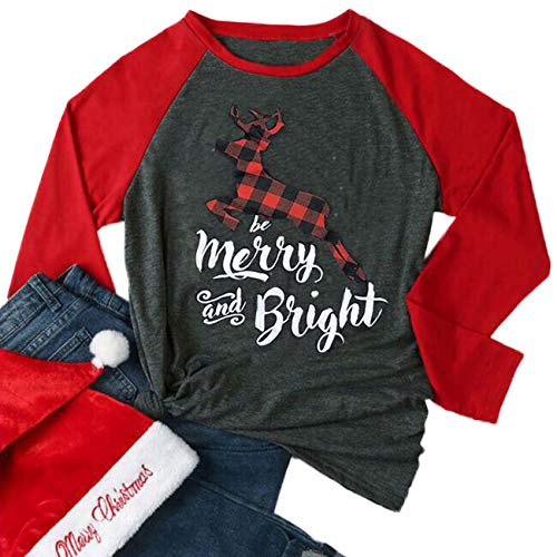 Be Merry and Bright Plaid Reindeer Baseball T-Shirt Women 3/4 Sleeve O-Neck Splicing Holiday Top Tees Size XXL (Gray) (Be Be Bright Merry)