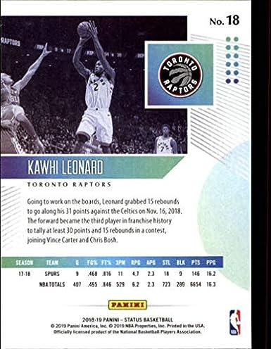 Amazon.com: 2018-19 Panini Status #18 Kawhi Leonard Toronto ...