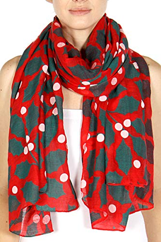 Christmas Feeling Holiday Soft Sheer Scarf Christmas Themed Selection With Gift Box Perfect Holiday Gift (RED CANDY -