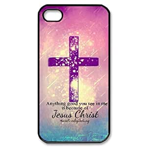 Diy Jesus Christ Cross Phone Case for iphone 4 Black Shell Phone JFLIFE(TM) [Pattern-1]