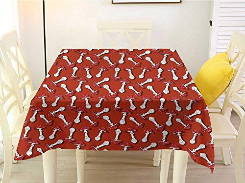 (L'sWOW Round Outdoor Square Tablecloth Mushroom Autumn Pattern with Amanita Muscaria Psychedelic Food Forest Woodland Burnt Sienna Red White Chairs 36 x 36 Inch)