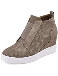 Womens Wedges Fashion Sneakers Side Zipper High Top...