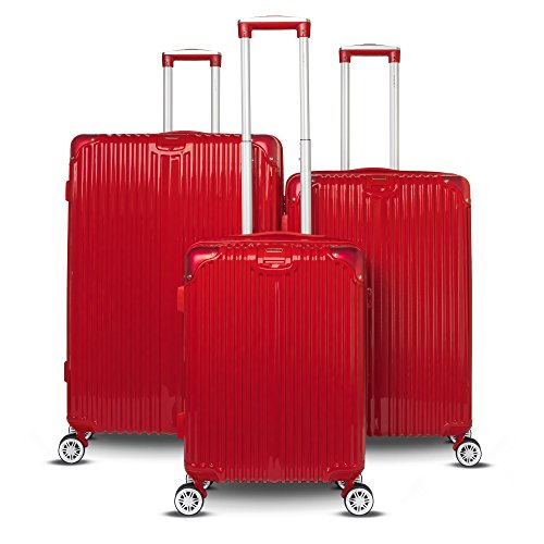 Collection Hardside Luggage - Gabbiano The Macan 3 Piece Expandable Hardside Spinner Luggage Set (Red)